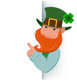 cartoon happy leprechaun showing on blank banner vector image vector image
