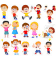 cartoon kids with different expression vector image vector image