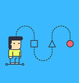 character creates a logical chain and looking for vector image vector image