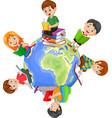 children reading book around world vector image vector image