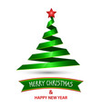 christmas and new year with green tree and star vector image