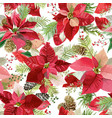christmas poinsettia flowers seamless background vector image vector image
