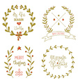 Christmas wreaths set with greeting messages vector image vector image