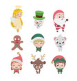 collection of various christmas characters vector image vector image