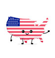 cute funny smiling happy usa map vector image