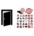Door Flat Icon with Bonus vector image