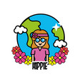 earth planet with hippie woman and flowers vector image vector image