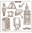 England travel tourism sketch symbols
