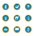 equatorial icons set flat style vector image vector image