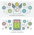 Flat line Business Partnership and Internet vector image vector image