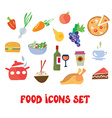 Food icons set - funny design vector image