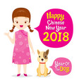 girl in cheongsam with dog vector image vector image
