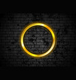glowing golden neon circle frame on brick wall vector image vector image