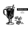 Hand drawn sketch cocktail mulled wine vintage vector image vector image