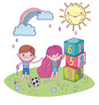 happy childrens day boy and girl with soccer ball vector image