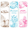 ice cream sketch banner set for food label design vector image vector image