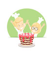 joyful boy and girl baked a cake vector image vector image