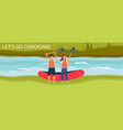 lets go canoeing banner or poster template