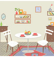 living room interior with dining table vector image vector image