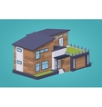 Low poly contemporary american house vector image