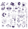 magic and mystic symbols witchcraft and occult vector image