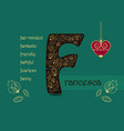 name day greeting card with flowers and letter f vector image vector image