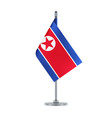 north korean flag hanging on the metallic pole vector image vector image