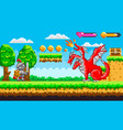 pixel game with dragon and knight fighting vector image