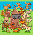 playful dogs cartoon characters group vector image vector image
