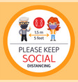 please keep social distancing round poster vector image