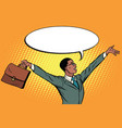 pop art retro businessman with briefcase hands up vector image