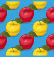 seamless pattern ripe red and yellow apples vector image vector image