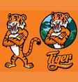 set of cartoon tiger character vector image vector image