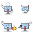 set of monitor character with chef devil shopping vector image vector image