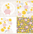 set of seamless patterns with toy pig and money vector image