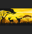 silhouette scene with gazelle and moose at sunset vector image