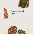 sketched monstera hand-drawn leaves in green rust vector image vector image