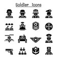 soldier military icon set vector image vector image