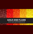 square pattern set gold and flame seamless tile vector image vector image