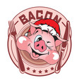 sticker pig in in hat santa vector image vector image