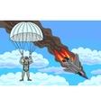The pilot descends by parachute vector image vector image