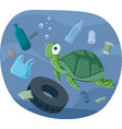 turtle swimming in polluted ocean vector image