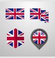 united kingdom flag design set vector image