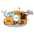 with clock food truck with isolated on mascot vector image