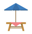 wooden table with umbrella vector image