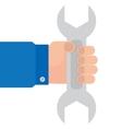 wrench in hand mechanics vector image vector image