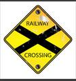 yellow railway crossing sign vector image vector image