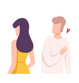 young woman rejecting loving man male and female vector image vector image