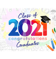 2021 colored graduate school bg vector image vector image