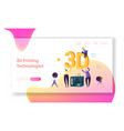 3d printing machine technology landing page vector image